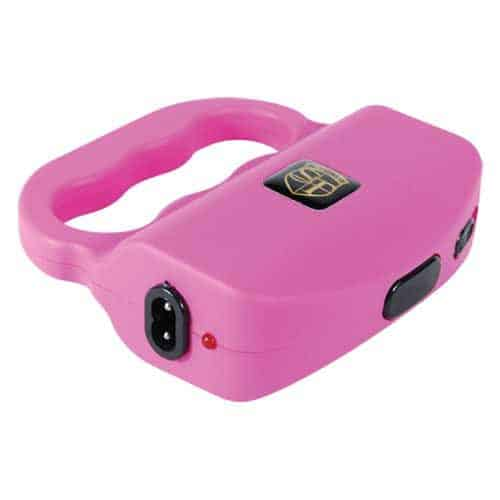 Talon Pink 18 Million volt Stun Gun Laying Down Showing Charging Port and View of safety switch