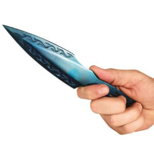 Blue 440 stainless Steel Throwing Knife Viewed in Hand