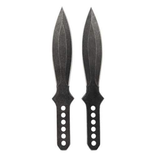 2 Piece Black 7.5″ 440 Stainless Steel Beginner Throwing Knife Set Front View