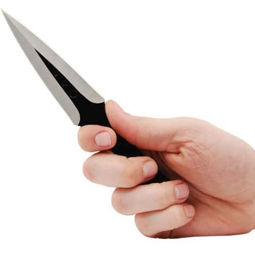 Black 7.5″ 440 Stainless Steel Throwing Knife Viewed in Hand