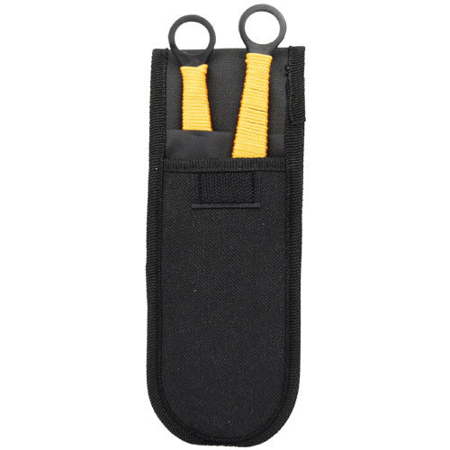 Black and Gold 2 Piece Throwing Knife Set Viewed in Sheath