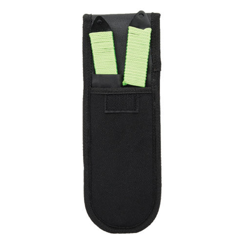 Green Bio Hazard 2 Piece Throwing Knife Set Viewed in Sheath