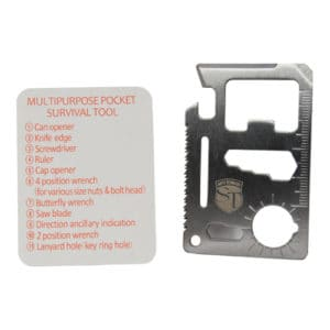 11 Function Credit Card Survival Tool Viewed with Instructions