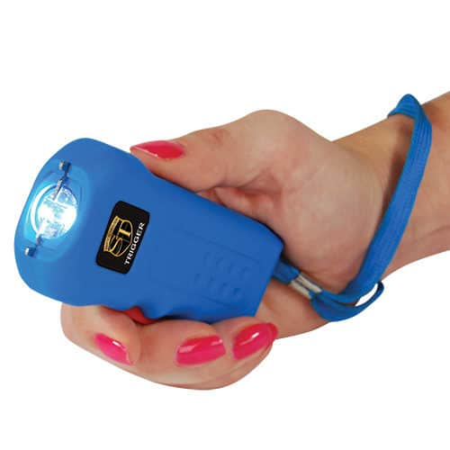 Rechargeable Blue Trigger 18,000,000 volt Stun Gun Flashlight Viewed in Hand with Wrist Strap