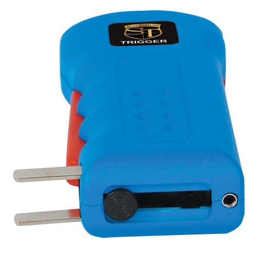 Blue Trigger Rechargeable Stun Guns Laying Down View of Charging Plug