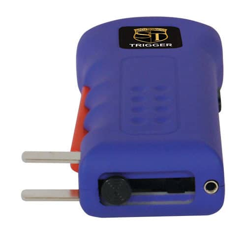 Purple Rechargeable Trigger Stun Guns Laying Down View of Charging Plug