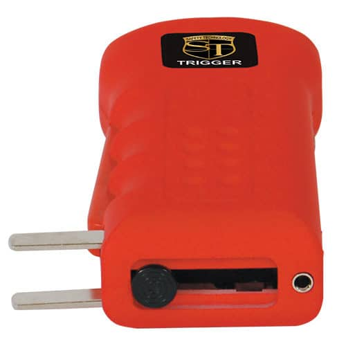 Red Trigger Stun Guns Laying Down View of Recharging Plug