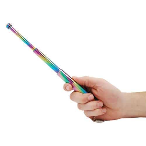 Multi Color Plasma 12 Inch Telescopic Steel Baton Shown in Hand Opened