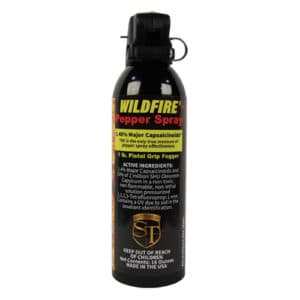 16 ounce Pistol Grip Wildfire™ 1.4% MC Pepper Spray Fogger Front View with Active Ingredients