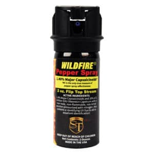 4 ounce Flip Top Stream Wildfire™ 1.4% MC Pepper Spray Side View Ingredients
