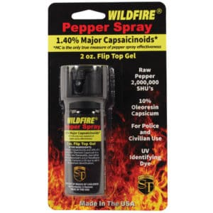 2 Ounce Flip Top Wildfire™ 1.4% MC Sticky Pepper Spray Gel Viewed in Blister Packaging