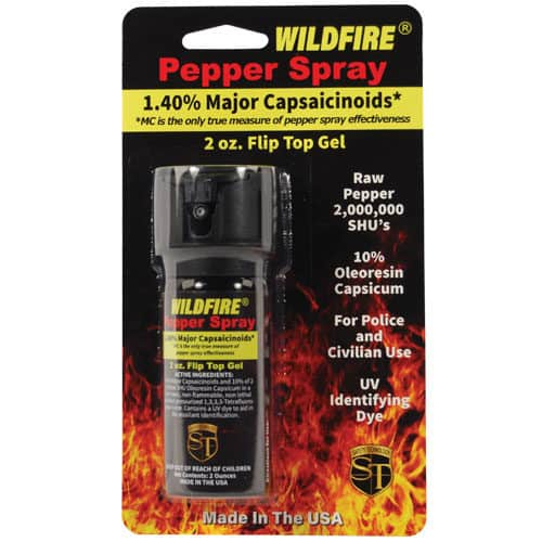 2 Ounce Flip Top Wildfire™ 1.4% MC Sticky Pepper Spray Gel Viewed in Blister Packaging
