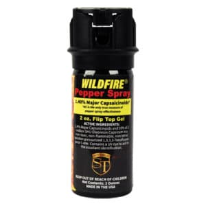 2 Ounce Flip Top Wildfire™ 1.4% MC Sticky Pepper Spray Gel Front View Active Ingredients Listed