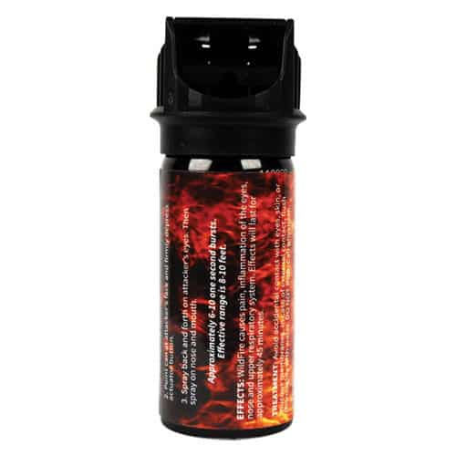 2 Ounce Flip Top Wildfire™ 1.4% MC Sticky Pepper Spray Gel Side View Direction of Use