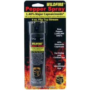 4 ounce Flip Top Wildfire™ 1.4% MC Pepper Spray Stream Viewed in Blister Pack