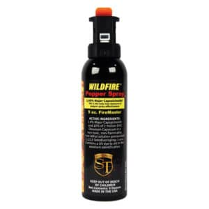 9 ounce Fire Master Wildfire™ 1.4% MC Pepper Spray Fogger Front View with Active Ingredients