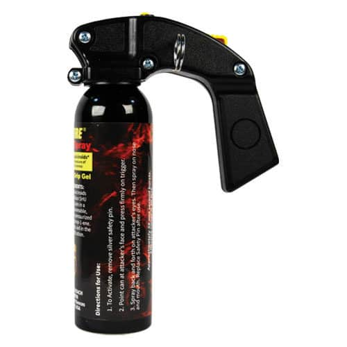 9 Ounce Wildfire™ 1.4% MC Pistol Grip Sticky Pepper Spray Gel Side View Instructions