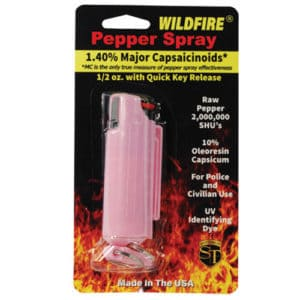 Pink Wildfire ½ oz Pepper Spray Hard Case Key chain Viewed in Packaging