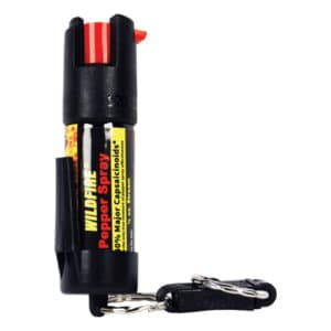 Side View of Wildfire™ Pepper Spray With Belt Clip and Quick Release Key Chain