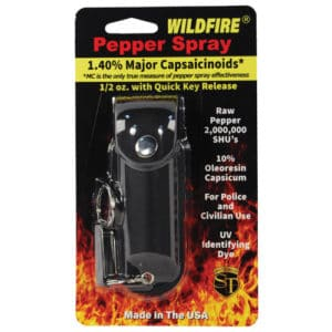 Black Wildfire™ Pepper Spray 1/2 oz With Leatherette Holster in Blister Packing