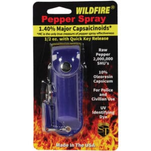 Blue Wildfire™ Pepper Spray 1/2 oz With Leatherette Holster in Blister Pack