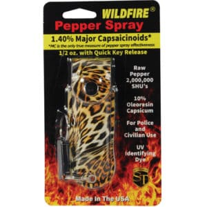 Wildfire™ Pepper Spray 1/2 oz With Black and Orange Leopard Print Leatherette Holster in Shipping Packaging