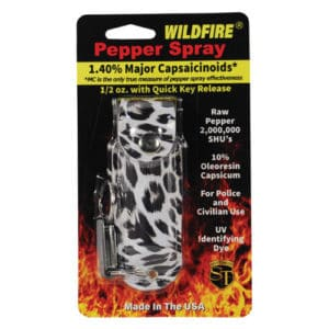 Wildfire™ Pepper Spray 1.4% MC 1/2 oz With Black and White Leopard Print Leatherette Holster in Shipping Package