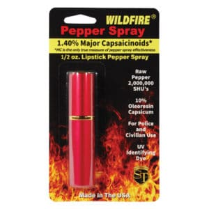 Red Wildfire™ 1.4% MC 1/2 oz Lipstick Pepper Spray Blister Packaging View