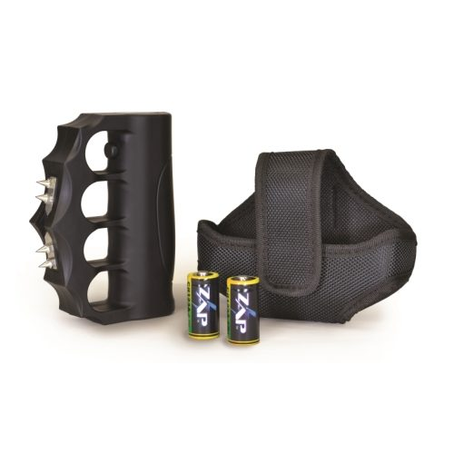 ZAP Blast Knuckles Extreme Stun Gun Viewed with Nylon Holster Rechargeable Batteries