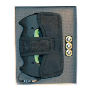 ZAP Double Trouble Stun Gun Front View in Holster