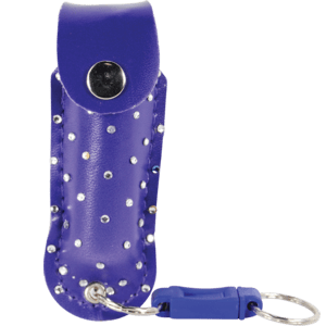 Front View of Purple Pepper Spray with Rhinestone Holster