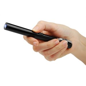 Black Stun Pen Small Disguised Stun Gun Viewed In Hand