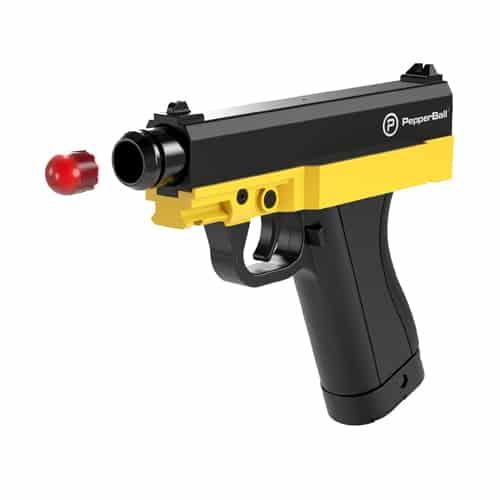TCP PepperBall Launcher Pistol Gun Side View Firing Pepper Ball