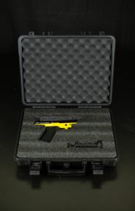 Tactical Compact Pistol PepperBall Launcher Viewed in Case