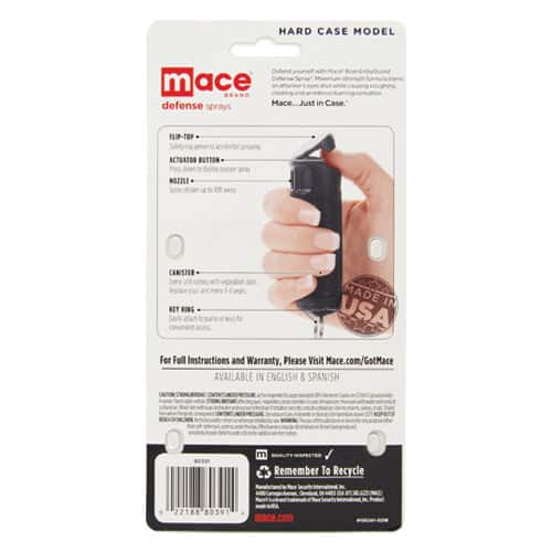 Black Mace® Pepper Spray Hard Case Back of Package with Instructions View