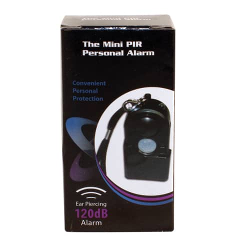 Mini Personal Travel Alarm Viewed in Packing Box