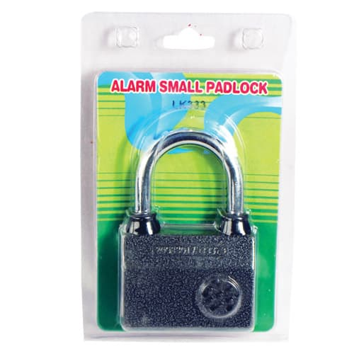 Small Padlock with Built-in Alarm System Viewed in Blister Packaging