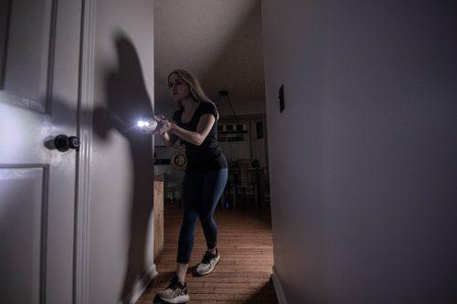 PepperBall® TCP™ Lifelite Mobile Starting Kit Women Using to Protect Her House