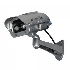 Solar Powered Dummy Camera with Motion Activated Flashing LED Viewed installed